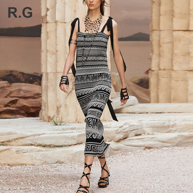 RG Vintage National Style Knitting Dress Geometric Pattern Knitt Spaghetti Strap Plus Size XL Women Maxi Dresses Holiday Summer