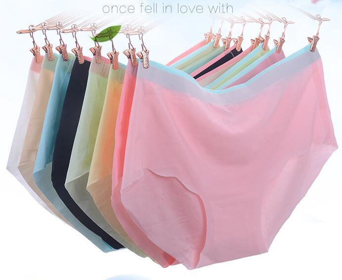 6pcs/Lot Seamless Panties Girl Brief Lady Elastic Underwear Girls Sweet Color Lady Transparent Underwear Transparant Briefs