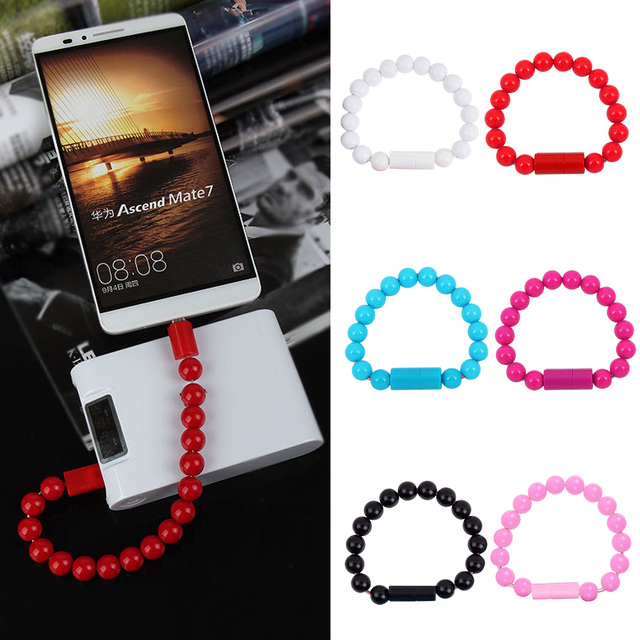 Wearable Usb Charging Bracelet Beads Charging Cable Portable Usb