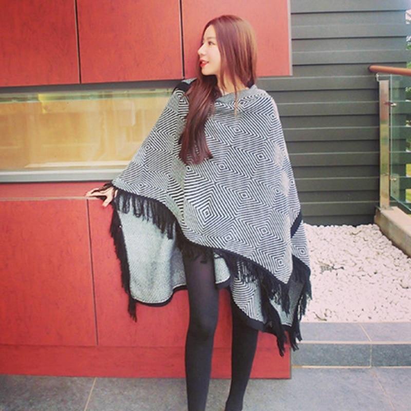 High Quality Women Winter Scarf Fashion Poncho Women Bohemian Shawl Scarf Hooded Blankets Cape Shawl Big Shawl Cashmere Pashmina