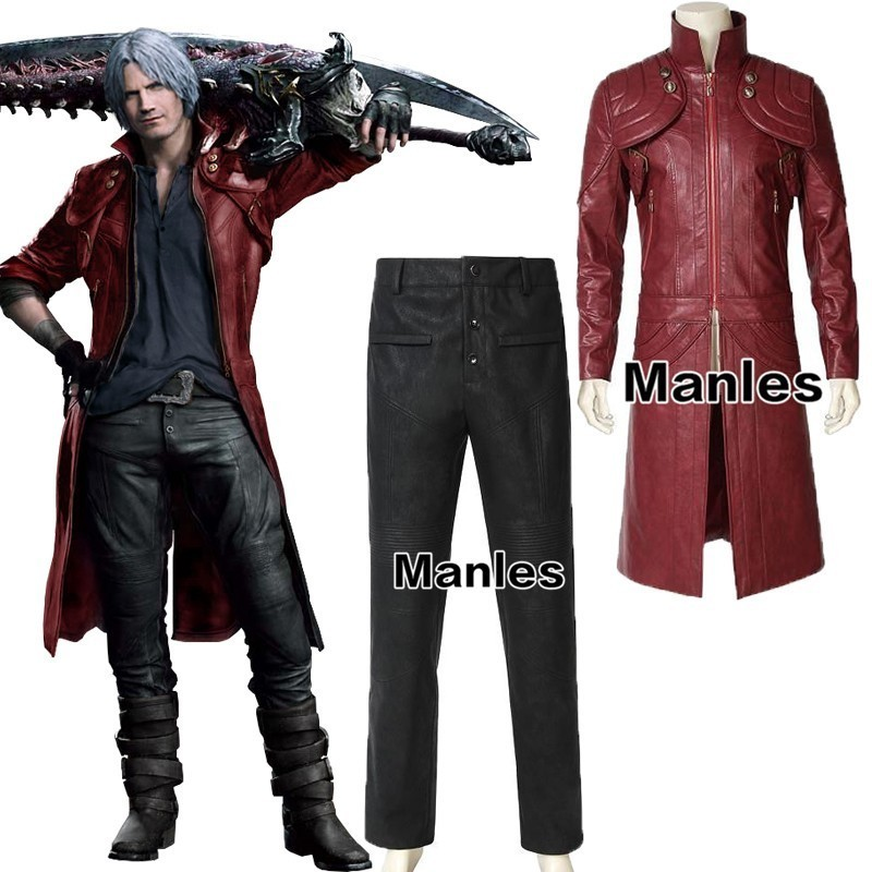 Devil 5 Cosplay Dante Costume Game Halloween Adult Men Custom Made Coat Leather Adult Christmas Only Jacket Shirt Pants Male