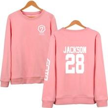 Got7 Kpop Hoodies Women Long Sleeve O-Neck Pullover Pink Sweatshirt Jackson Mark JB JR Hoodie Sudaderas Mujer Never Ever