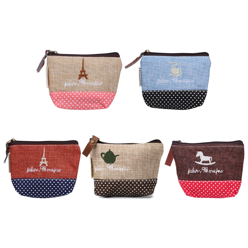 1PC Retro Women Lady Small Canvas Purse Zipper Wallet Coin Key Holder Case Pouch Bag