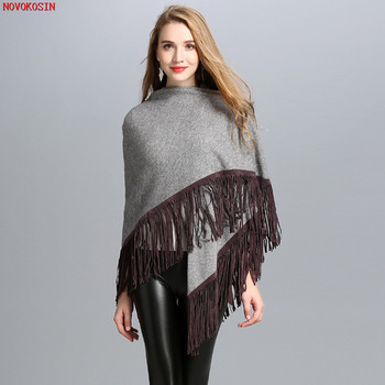 SC37 Autumn Winter New Style Knitted Shawl 2018 Fashion Tassel Triangle Wrap Double-Used Big Black Grey Solid Scarf