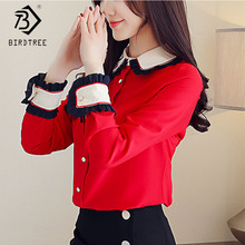 2019 New Women's Red Patchwork Chiffon Blouse Buttons Turn Down Collar Long Sleeve Top Office Lady Fashion Hots Sales T8D906J