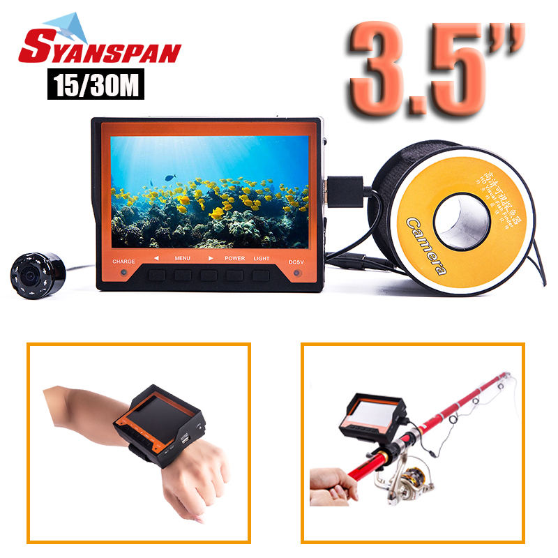SYANSPAN 15/30M Portable Fish Finder 1000TVL 3.5Underwater Ice Fishing Camera Fishfinder 8 IR LEDs Night Vision Mount on Rod 30m underwater fish cameras finder sea real time live underwater ice video fishfinder fishing camera ir night vision 4 3 screen