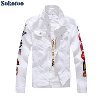 Sokotoo Men's patches design slim fit denim jacket White army green patchwork coat Outerwear for man