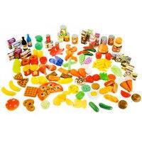 120pcs Simulation Cutting Fruits Vegetables Food Seasoning Plastic Toy Pretend Play Toys Educational Kids Kitchen Fun