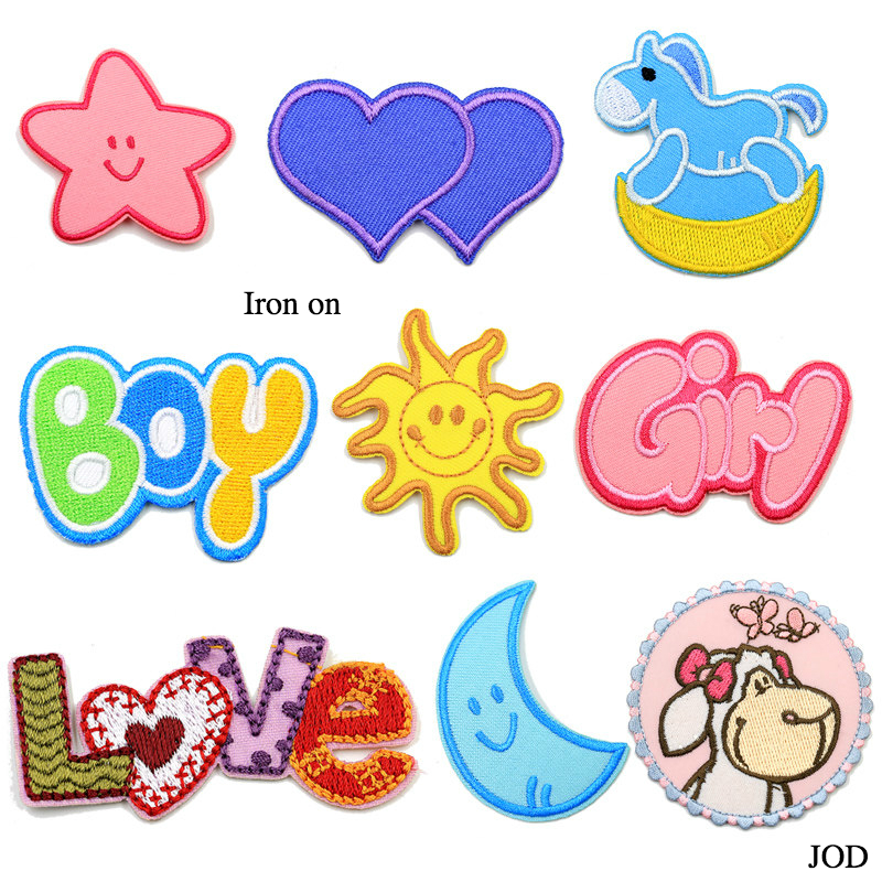 JOD Boy,girl,sun,heart,star,love,mon Patch Embroidery Iron on Brand Craft Sewing Repair Cartoon Decorative Patches Decal