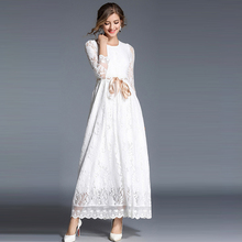 ARiby European Spring Women Dress England Style Vintage Lace Hollow Out Solid Temperament Petal Sleeve O-Neck Robe Femme