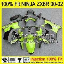 8Gifts Injection mold Body For KAWASAKI NINJA ZX-6R 00-02 1HM117 ZX 6R ZX6R 00 01 02 ZX636  2000 2001 2002 Fairing Green black