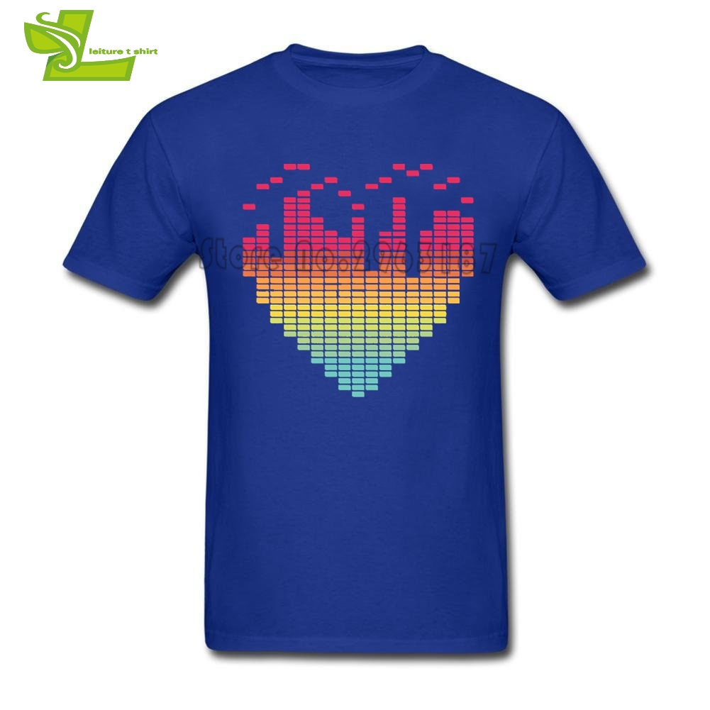 My Beat-ing Heart Music Equalizer Printing T Shirt Adult New Tshirt Leisure Custom Made T-Shirts Man O Neck Graphic Dad Clothing