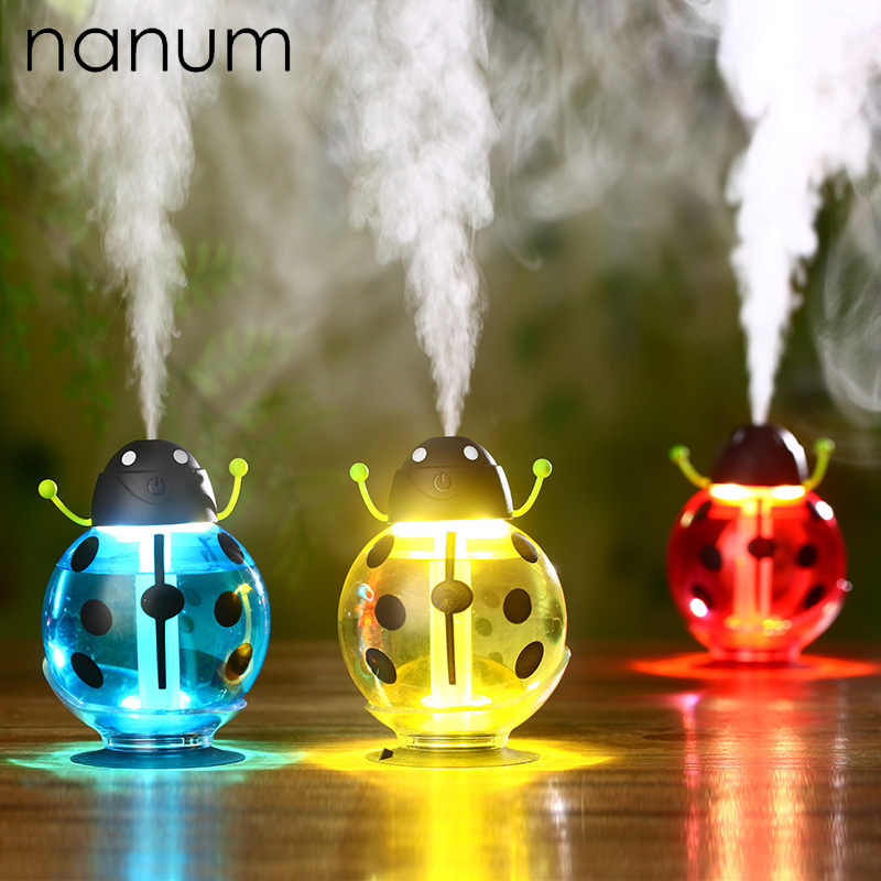 Car Air Freshener Ladybug Ultrasonic Car Humidifier 5V Led Light USB Portable Office Car Air Diffuser Mist Maker DC 260ML