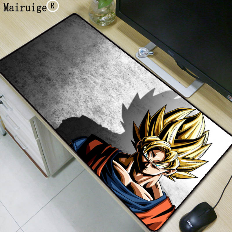 Mairuige Dragon Ball Z Goku Anime Durável de Borracha Borda de Travamento Grande Mouse Pad Mat Tamanho para 300*600 * mm e 400*900*2 2mm Mousepad