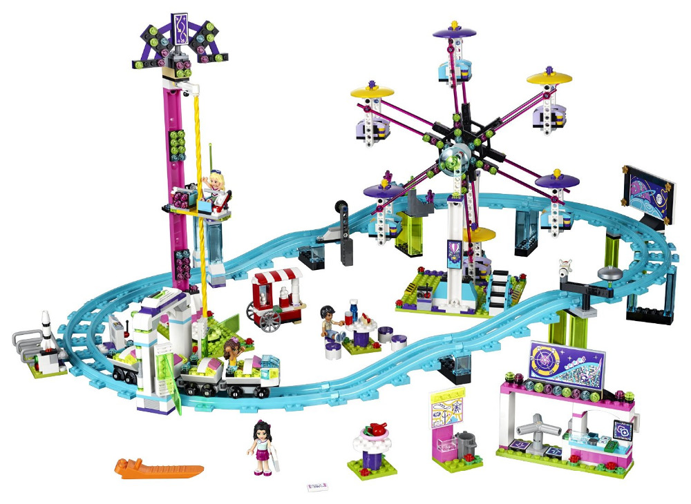 цена на lepines Girl Friends Amusement Park Roller Coaster Building Blocks Classic For Girl Kids Model brick figureToys