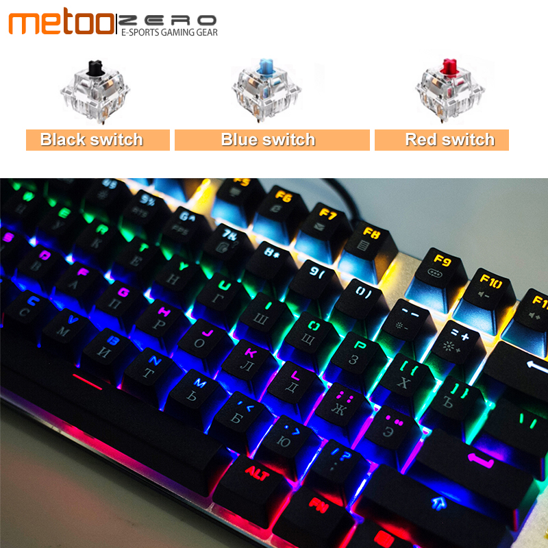 Mechanical Gaming Keyboard Ergonomic Design LED Backlit 104 Full key USB Wired Keyboard For Gamer Computer Blue/Red/Black switch professional mini bluetooth wireless backlit gaming mechanical keyboard blue black red brown switch wired game keyboard for pc