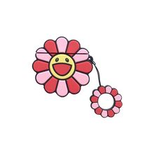 Durable Shockproof Case Skin Cute Colorful Flowers Soft Silicone Protective Cover With Lanyard for Airpods 1/2 Charging Box