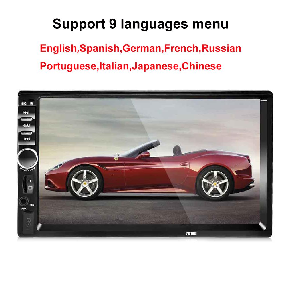 Prix pour 2 Din 7 ''pouces LCD écran Tactile voiture radio player support multiples Langues Menu BLUETOOTH mains libre arrière vue caméra de voiture audio