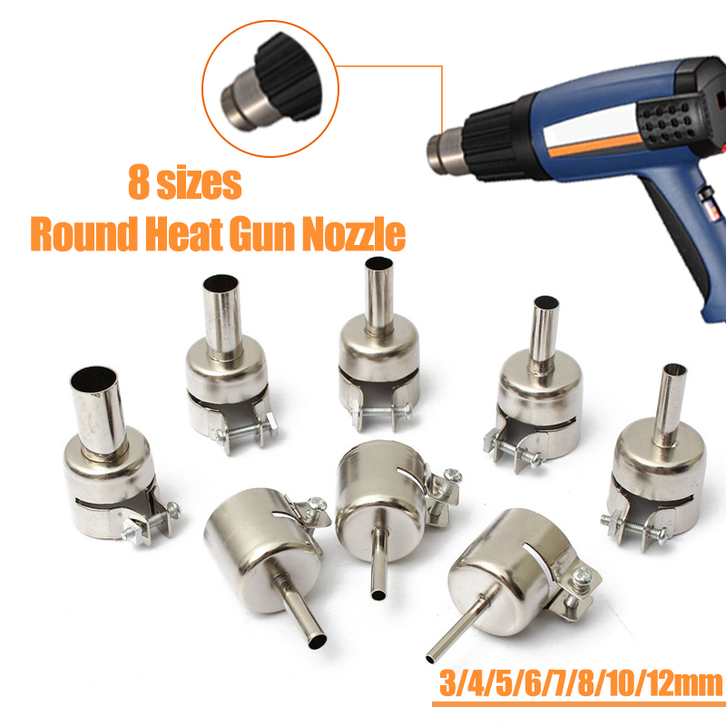 3mm/4mm/5mm/6mm/7mm/8mm/10mm/12mm  Round Heat Guns Nozzle For 850 Hot Wind Air Guns Welding Soldering Station Blower Nozzles