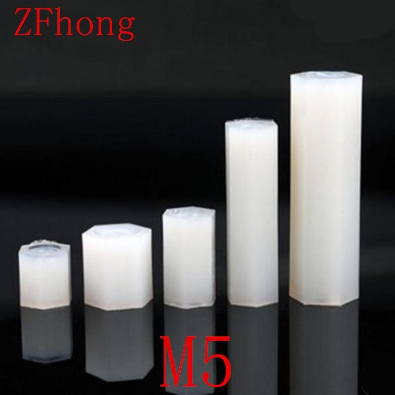 100pcs/lot m5 nylon hex spacer M5*10/15/20/25/3/35/40/45/50 Female to Female Thread White Nylon Standoff