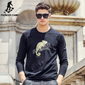Pioneer camp camisa longa da luva t dos homens 2017 novo de alta qualidade Premium Camisetas de Algodão Casual Slim Fit elastic masculina tshirt 699054