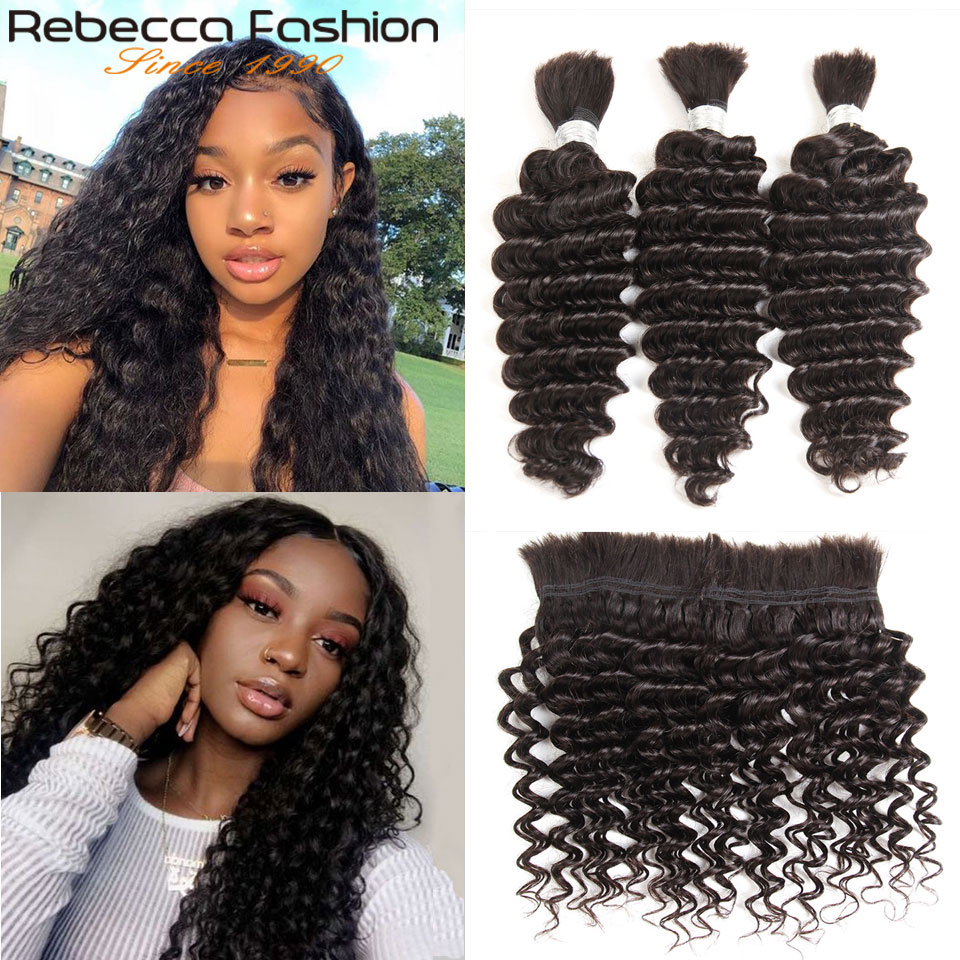 Rebecca Malaysian Human Hair Deep Wave 3 Pcs Braiding Bulk Hair No Weft 10 To 28 30 Inch Remy Bulk Human Hair Natural Color
