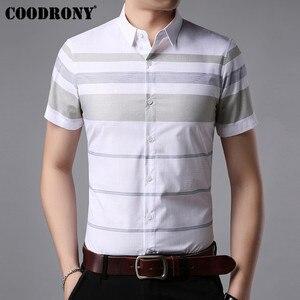 Image 2 - COODRONY kısa kollu gömlek erkekler 2019 yaz serin Casual erkek gömlek Streetwear moda çizgili Camisa Masculina artı boyutu S96036