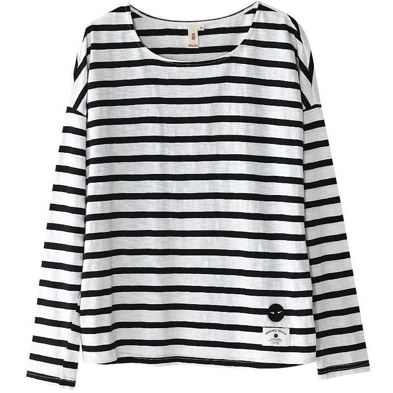 Toyouth футболки 2017 весной женщины футболки полосы печатных свободные база повседневная с длинным рукавом о-образным вырезом майки топы