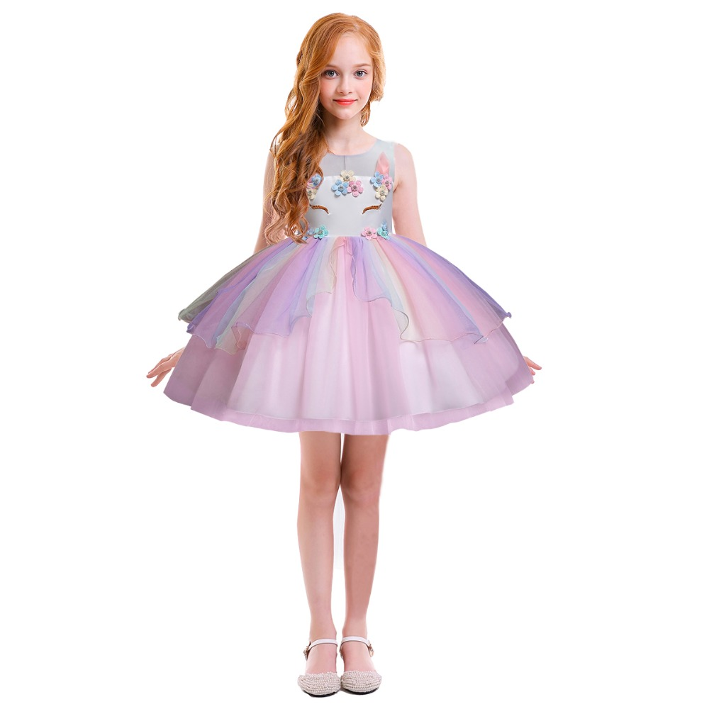 Unicorn Dress for Girls Cute Kids Birthday Clothes Ball Gown Flower Fancy up Photo Shoot