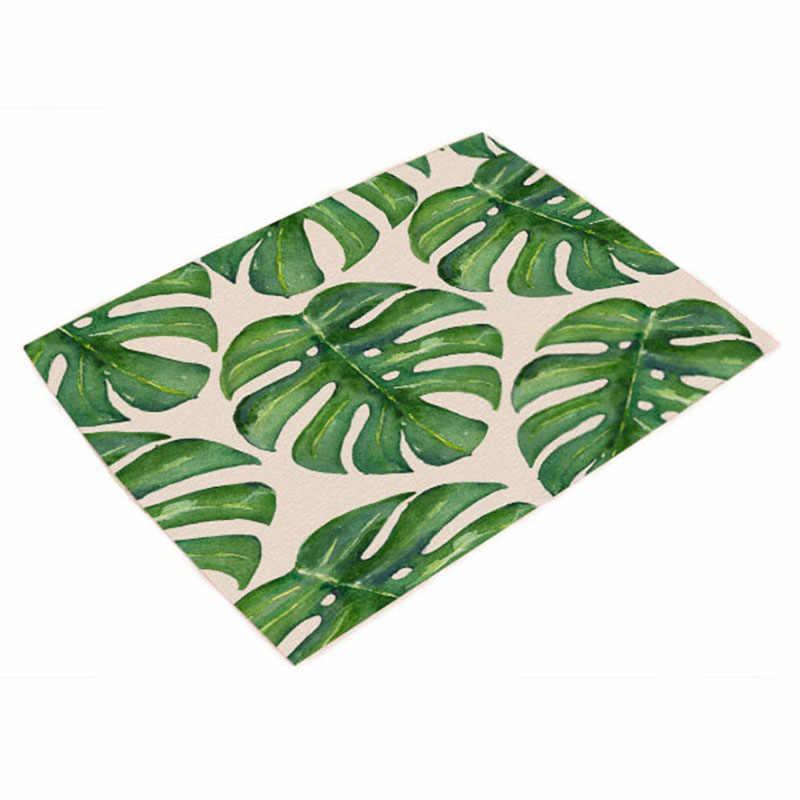42*32 см зеленое растение кухонное украшение банкетный ужин салфетка для посуды Monstera летняя скатерть с знаменитым рисунком