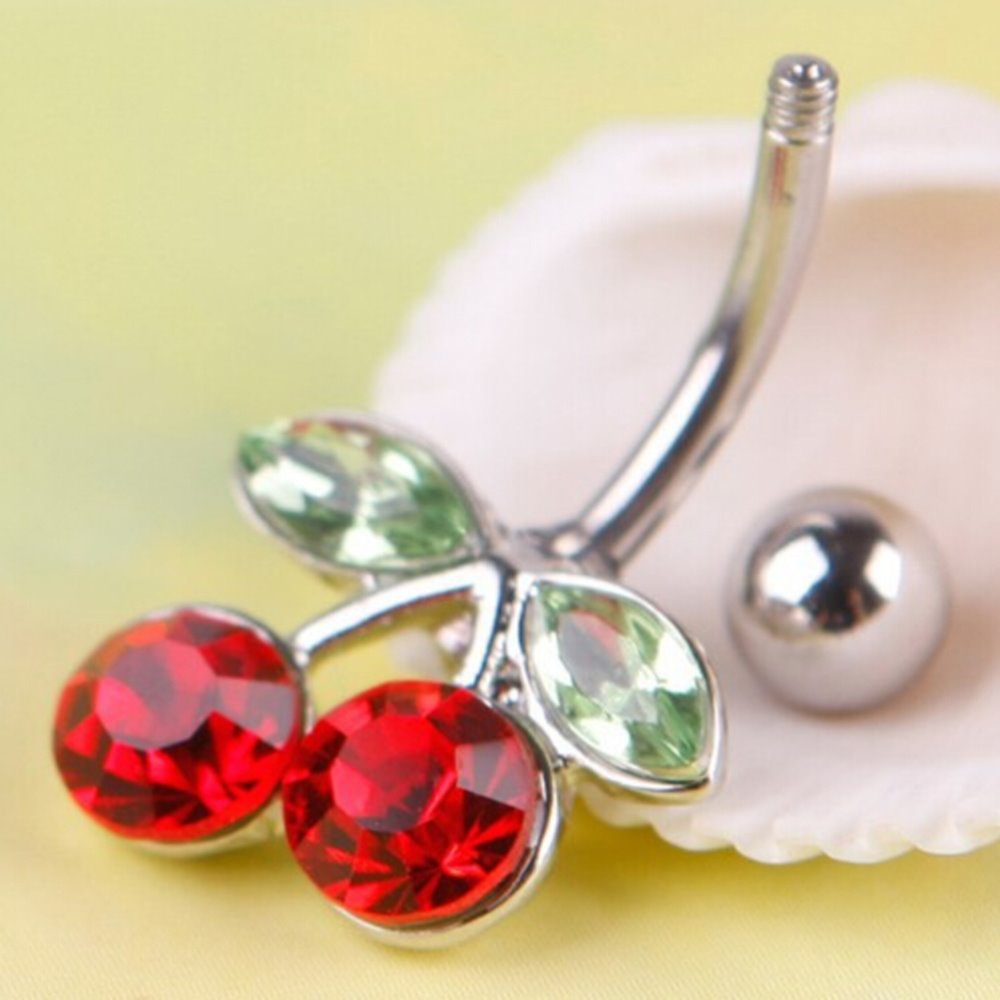 Hot Sale High grade new 1Pc Rhinestone Belly Button Red Cherry Navel Barbell Ring Body Piercing