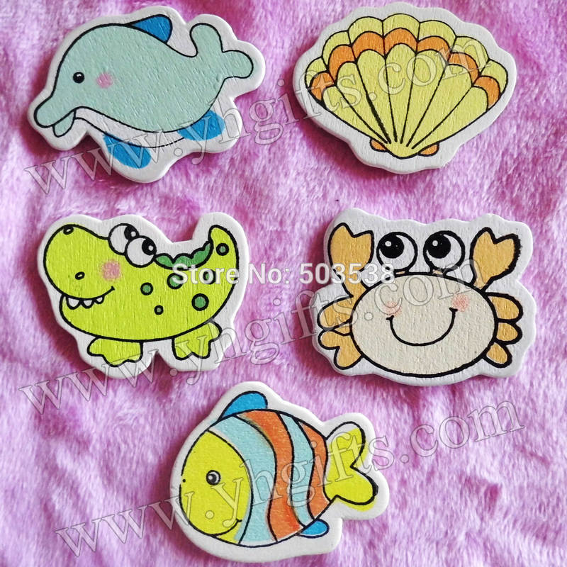 500PCS/LOT.5 design ocean animals wood stickers,Kids toys,scrapbooking kit,Early educational DIY.Kindergarten craft.Classic toys