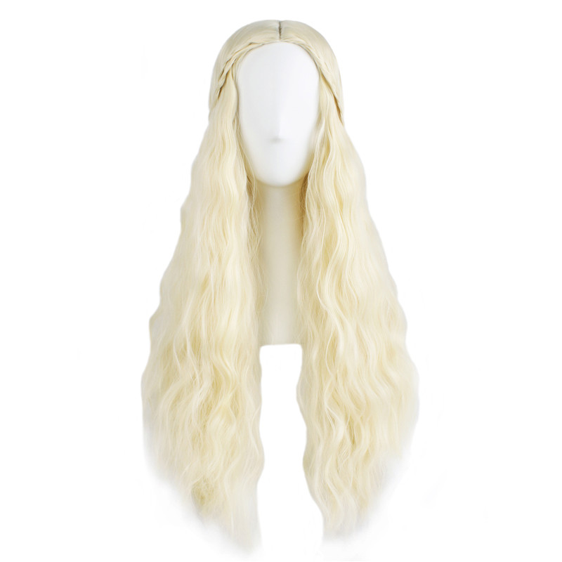 Game of Thrones Daenerys 70cm Long Curly Wig Cosplay Costume Blonde Wig Halloween Party Ladies Heat Resistant Hair