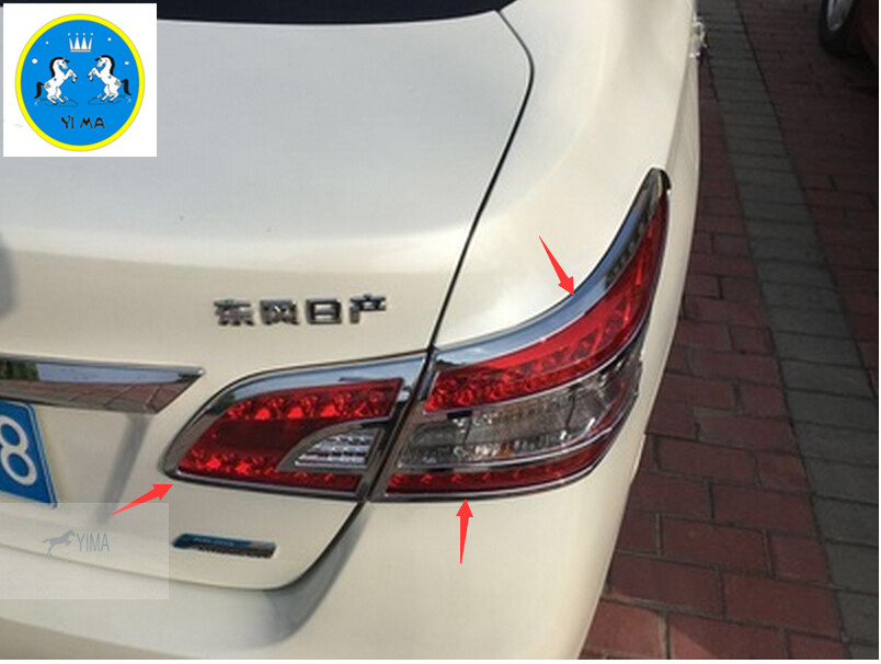 Lapetus ABS Chrome Rear Tail Lights Lamps Frame Cover Trim Fit For Nissan Sentra / Sylphy 2012 2018 Exterior Kit
