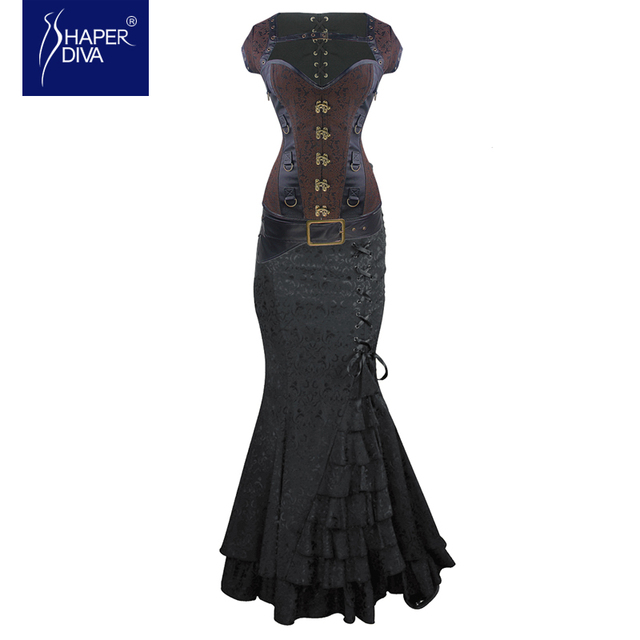 Burvogue Women Overbust Corset Top and Dress Gothic Corset Steampunk Corset  Dress  Jacquard Bustier Top Steel Bones Corsetlet