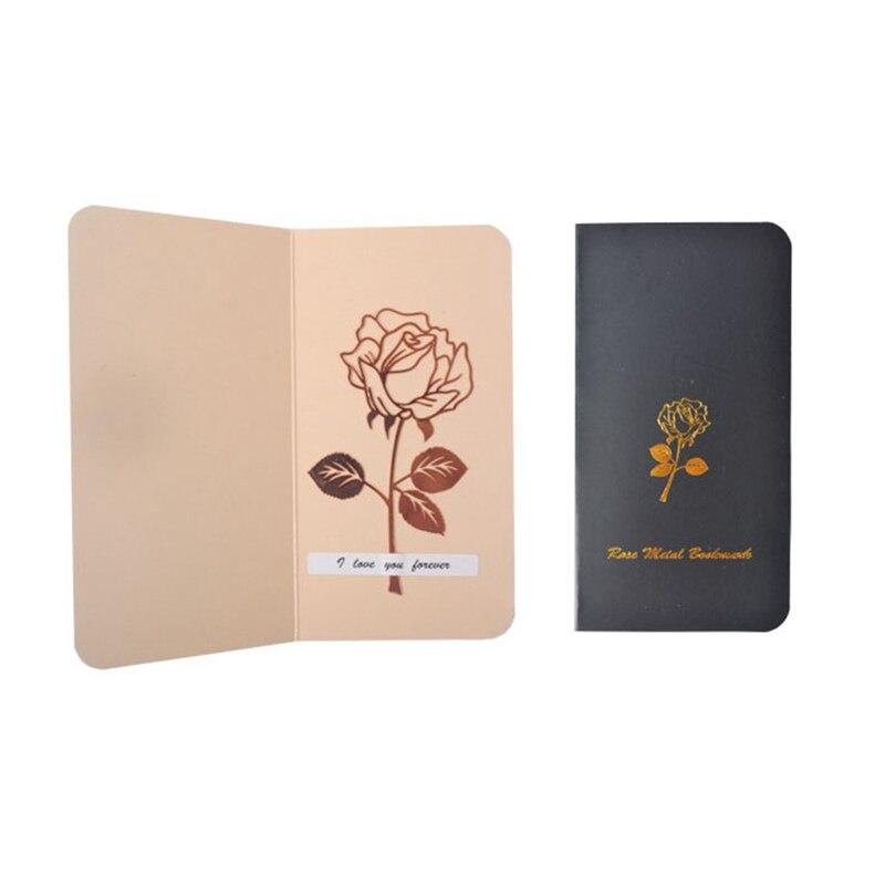 1 Set Luxe Metalen Rose Bloem Bladwijzers & Wenskaarten Chancery School Kantoor Accessoires Tab voor Boeken Briefpapier Items Gi