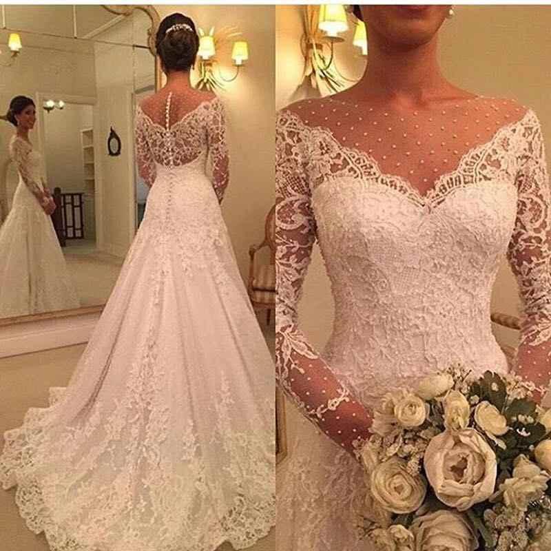 Vestido de noiva Свадебные платья 2019 кружевное свадебное платье с аппликацией на молнии