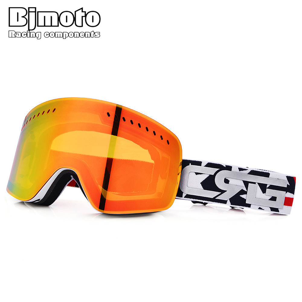 BJMOTO UV400 Ski Goggles Men Women Anti-fog Adult Winter Skiing Eyewear Snowboard Snow Goggle Anti-UV MTB Skate Glasses