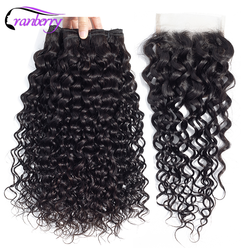 CRANBERRY Hair Peruvian Water Wave Bundles With Closure 4pcs Lot 100 Remy Human Hair Bundles With