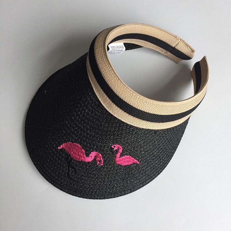 Frau Sonne Hüte Weibliche Flamingo Vogel Bestickte Visier Caps DIY Stroh Sommer Kappe Casual Schatten Hut Leere Top Hut strand Neue