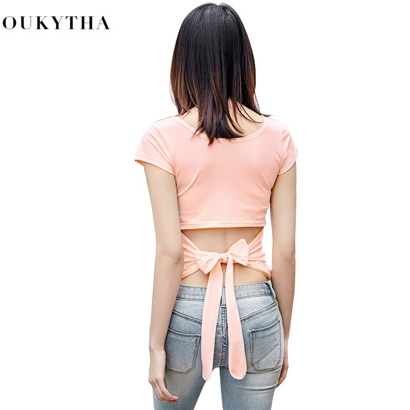 2018 Summer Sexy Reveal Back Close T Pity Woman Short Sleeve Korean Self-cultivation Personality Solicitude For Bow Back Jacket