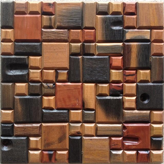 12x12 Mesh Home Walls Solid Wood Mosaics Tiles Wall Panels Squared Wooden Tile Decor Backsplash