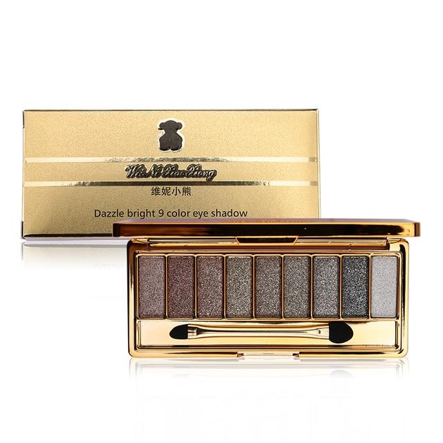 9 Цвета яркий алмаз телесного цвета дымчатый макияж палитра теней составляют набор Тени Макиллаж Профессиональная Косметика с кистью