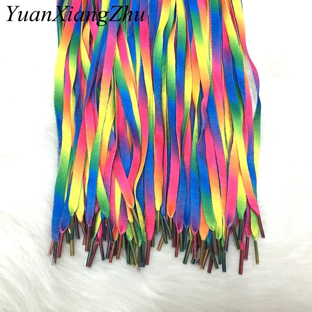 1Pair Colorful Laces Rainbow Gradient Print Flat Canvas Shoe Lace Shoes Casual Chromatic Colour Shoelaces 80CM/100CM/120CM BC-1