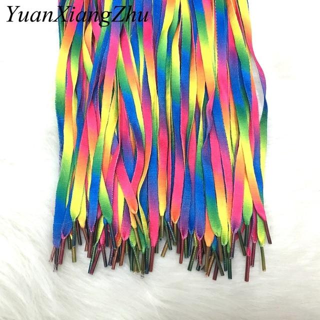1 çift Renkli Dantel Gökkuşağı Degrade Baskı Düz kanvas ayakkabı dantel ayakkabı Rahat Kromatik Renk Ayakabı 80 CM/100 CM/ 120 CM BC-1