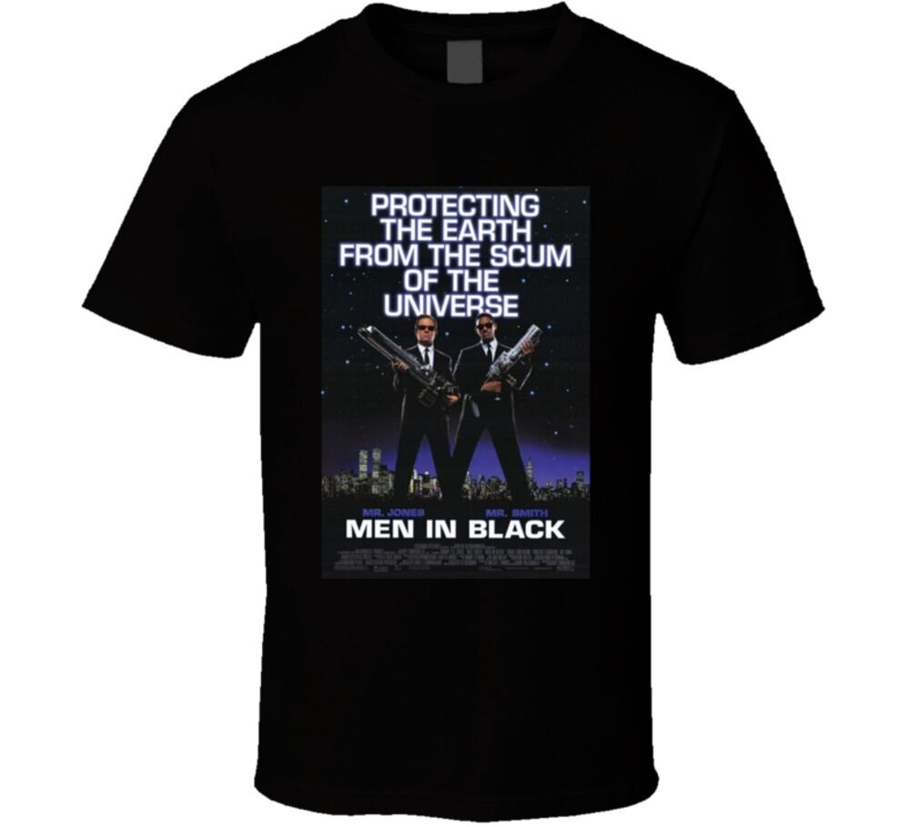 Men In Black Cool 90's Comedy Vintage Classic Movie Poster Fan T-Shirt Printed T Shirt Short Sleeve Men image