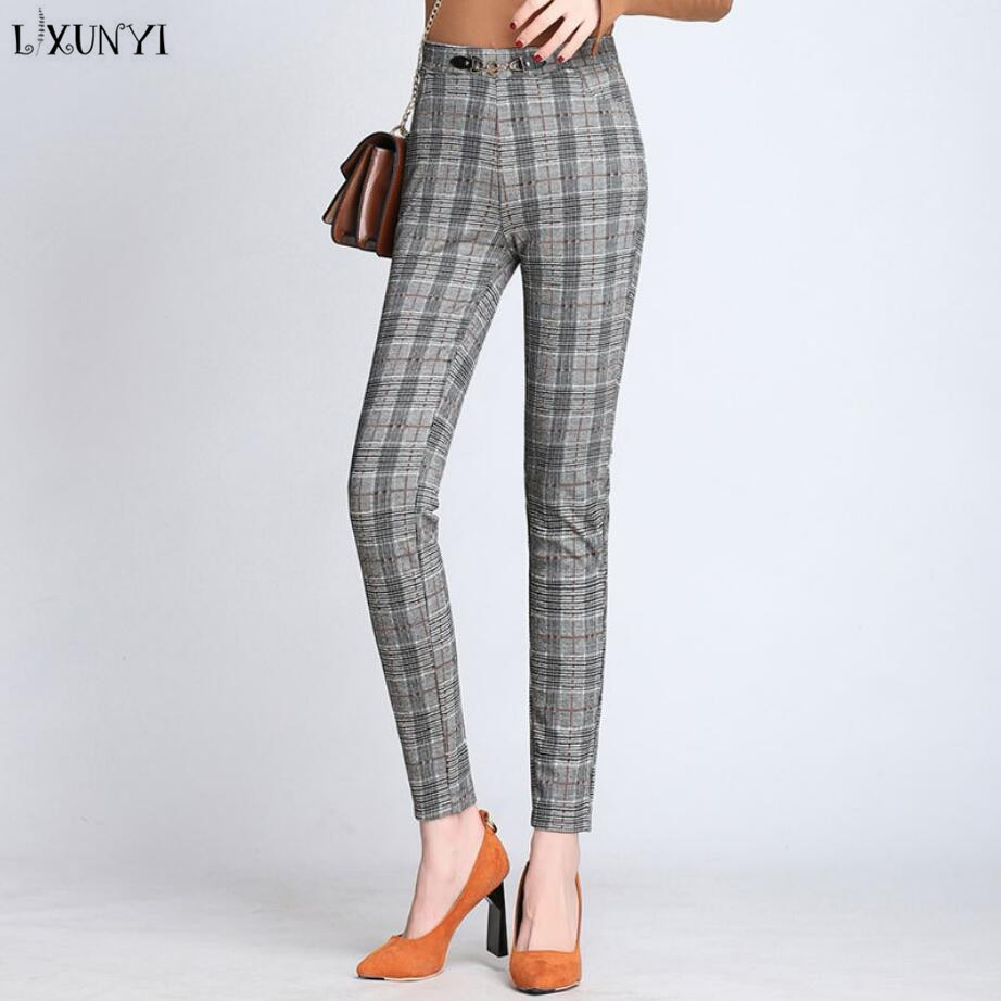 LXUNYI 2018 Spring Autumn New Plaid Pants Women Casual Ankle Length Pants Plus Size Elastic Waist Skinny Pencil Pants Woman ankle length elastic mens pencil pants