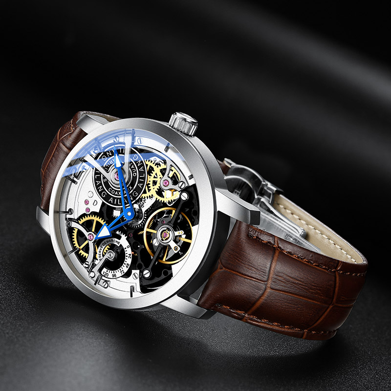 Image 4 - AILANG  Brand Men Automatic Watch Luxury Skeleton Mechanical Watches Men's Black Genuine Leather Clock Relogios Masculino 2019-in Mechanical Watches from Watches