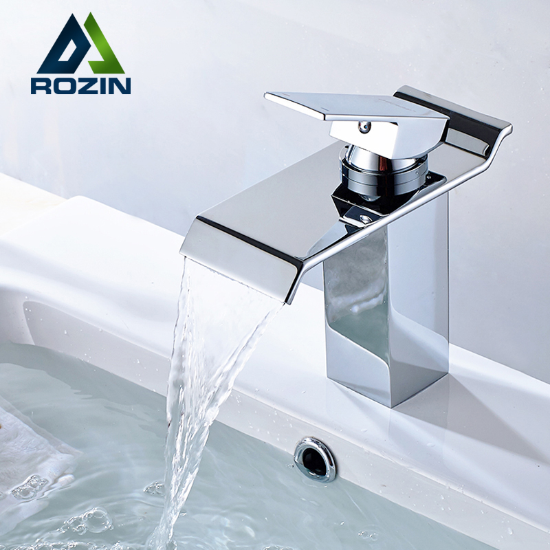 Free Shipping Single Lever Waterfall Basin Sink Mixer Taps Deck Mounted Hot and Cold Bathroom Sink