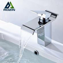 Versandkostenfrei Einhebel Wasserfall Waschbecken Waschbecken Mischbatterien Deck Montiert Warmen und Kalten Waschbecken Wasserhahn